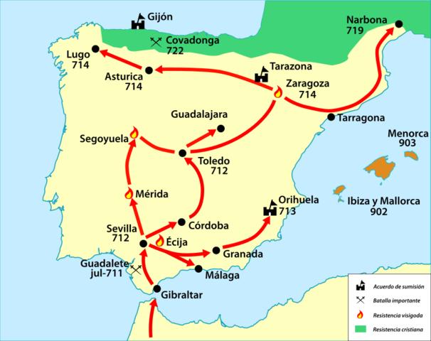 invasión por parte de tariq ibn siyad conquistando hispania