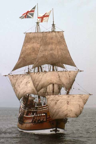 The Mayflower Arrives at Plymouth