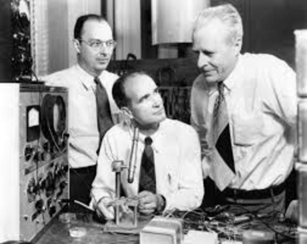 John Bardeen, Walter Brattain, and William Shockley invent the first transistor at the Bell Laboratories on December 23, 1947.