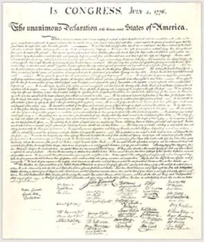 Declaration of Independence adopted by Second Continental Congress