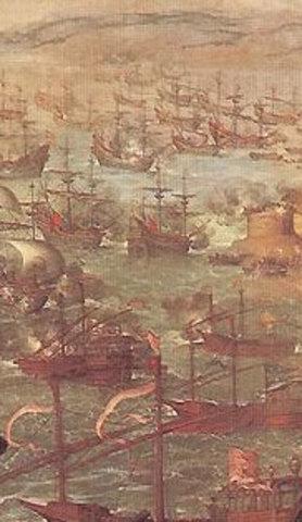 Asaltos ingleses en el puerto de Cádiz.