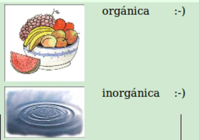 Sustancias orgánicas e inorgánicas.