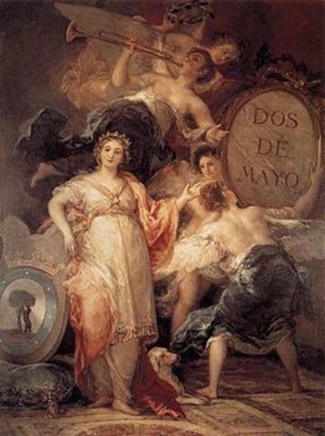 Recibe el encargo de retratar al rey intruso en la Alegoría de la villa de Madrid