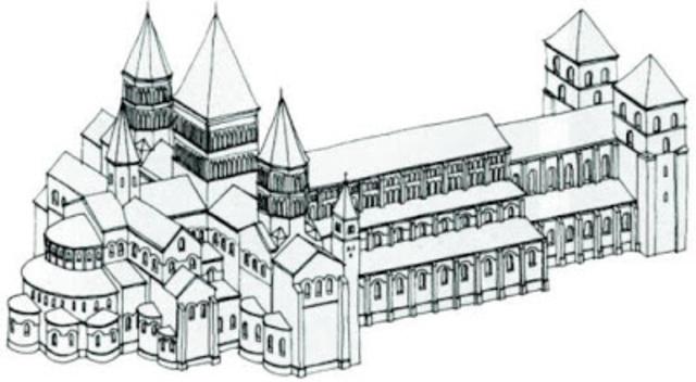 Comezo de la gran iglesia de Cluny