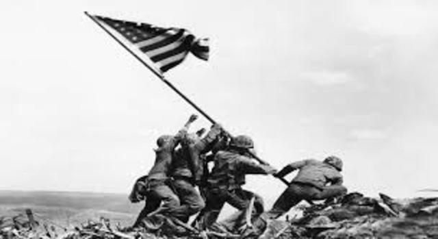 U.S. Marines raise the American flag on Iwo Jima