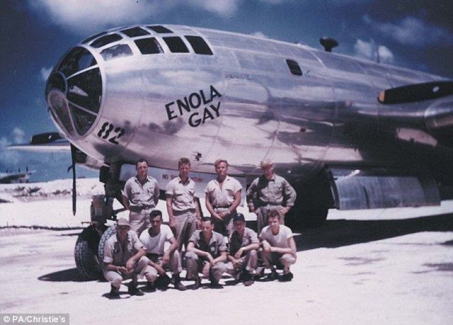 "The B-29 bomber Enola Gay drops the first atomic bomb ""Little Boy"" on Hiroshima"