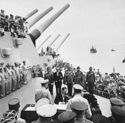 The Japanese Instrument of Surrender is signed on the deck of the USS Missouri in Tokyo Bay