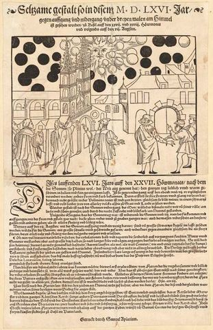 Fenómeno celeste en Basilea de 1566