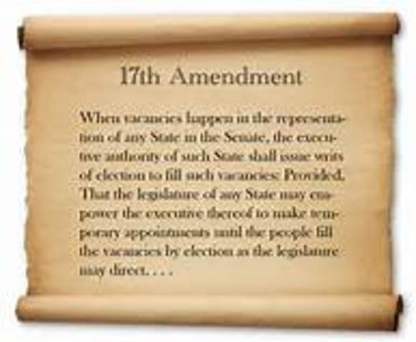 Seventeenth Amendment to the Constitution is ratified