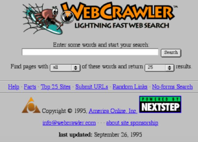 "Primer motor de búsqueda de texto completo ""WebCrawler"""