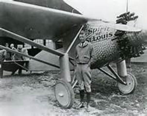 Charles Lindbergh makes the first solo nonstop transatlantic flight in his plane The Spirit of St. Louis