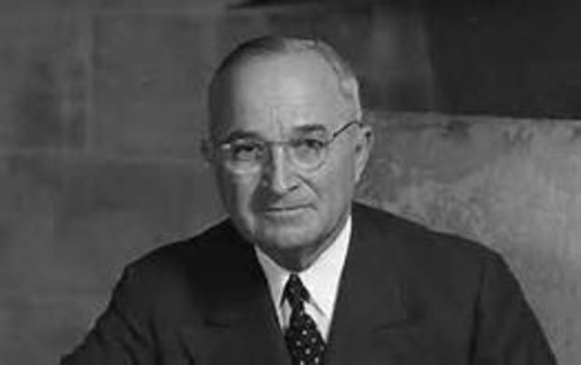 President Roosevelt dies and is succeeded by vice president, Harry Truman