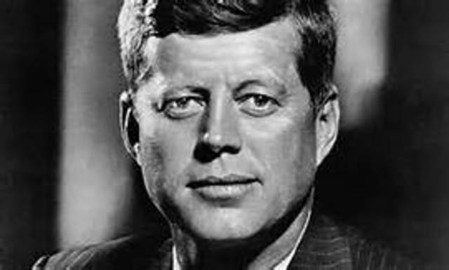 John F. Kennedy is inaugurated as the 35th president