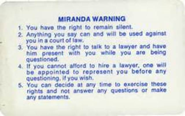 Miranda v. Arizona: Supreme Court decision further defines due process clause of Fourteenth Amendment and establishes Miranda rights