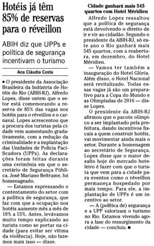 """O Globo: """"UPPs e política de Segurança incentivam o turismo"""""""