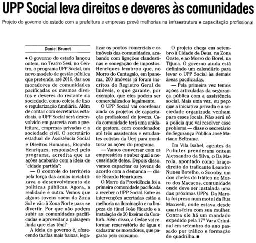 Lançamento do projeto UPP Social