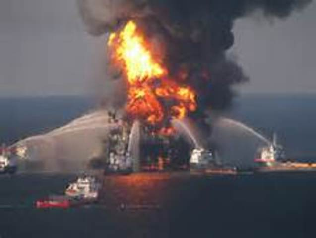 An explosion and fire on the Deepwater Horizon oil rig in the Gulf of Mexico sends millions of gallons of oil into the sea.