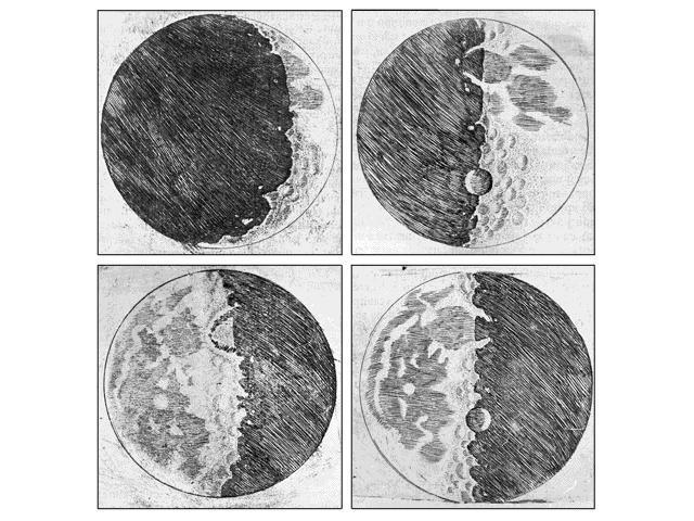 Moon drawings by Galileo