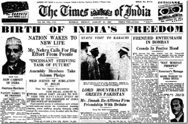 India y Pakistán se independizan de Gran Bretaña