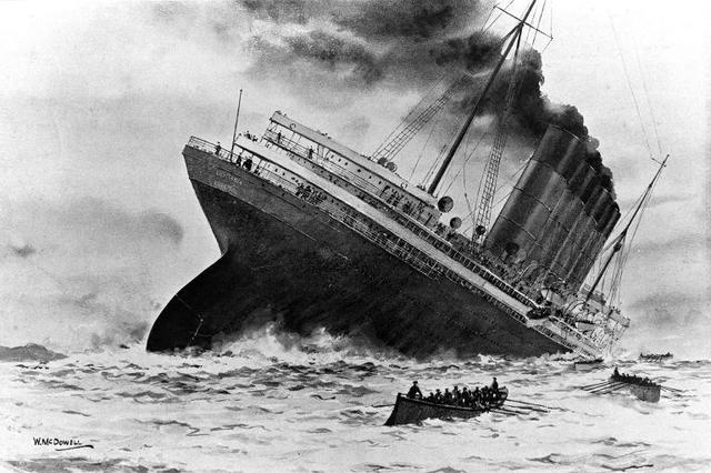 The Lusitania is sunk