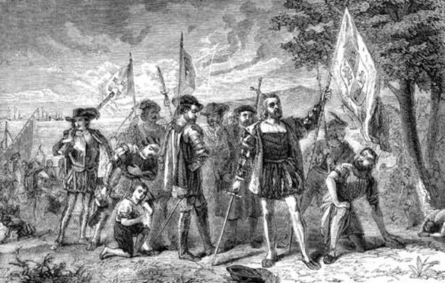 Christopher Columbus sails to America