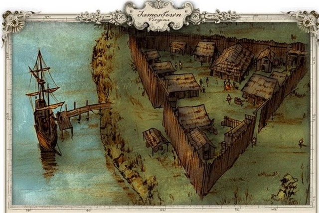 First permanent English settlement in North America at Jamestown.