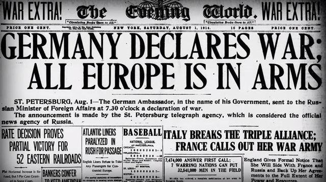 Alemania declara la guerra a Rusia.