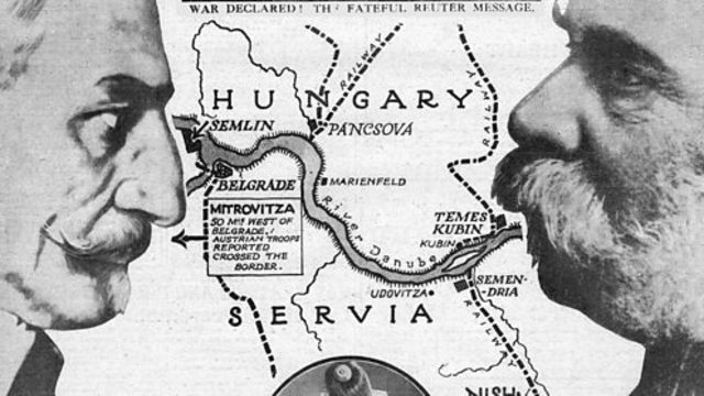 Serbia declara la guerra al Imperio alemán y al Imperio austrohúngaro.