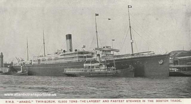 Hundimiento del transatlántico SS Arabic de USA, construido en 1903.