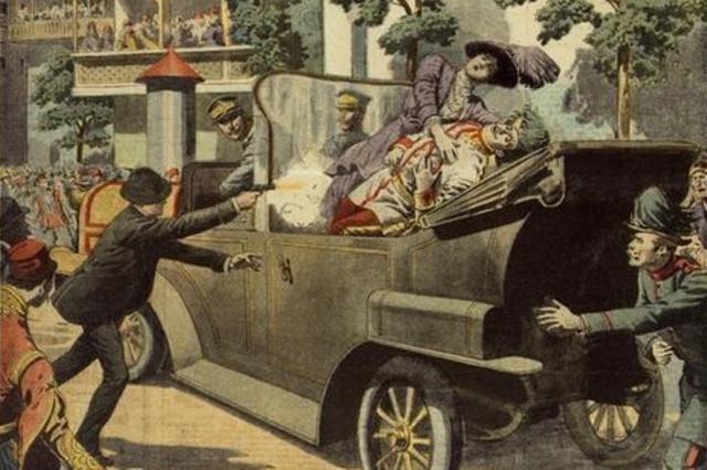 Asesinato del príncipe austriaco Francisco Fernando. Austria-Hungría le declara la guerra a Servia.
