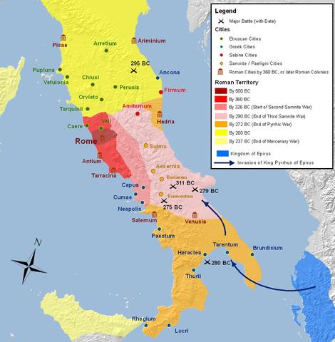 Romans control Italian peninsula
