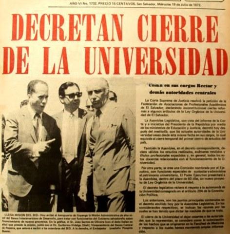 Intervención de la Universidad de El Salvador
