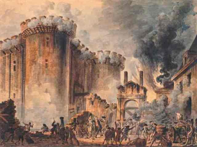 Parisans storm the Bastille.
