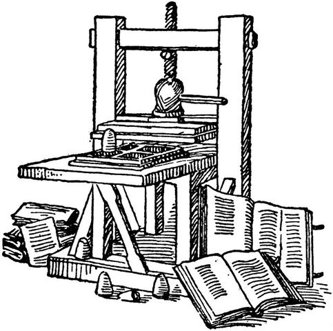 """Creation of the """"Gutenberg Bible"""" by the printing press"""