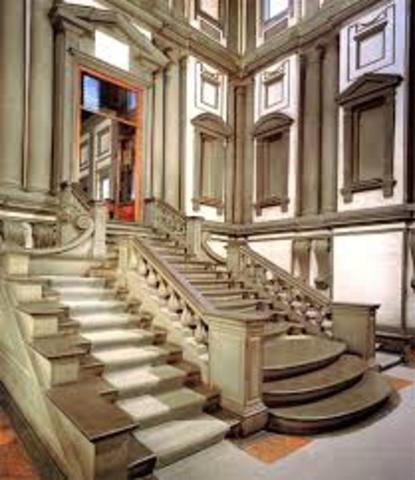 escalinata y vestibulo de la biblioteca laurenziana en la basilica de san lorenzo