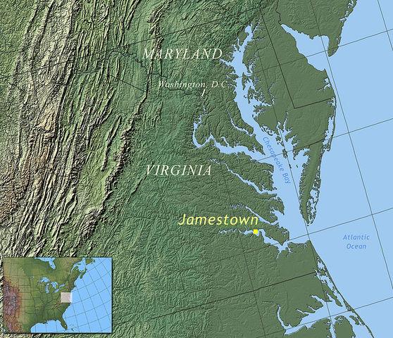 1er asentamiento de Inglaterra en América - Jamestown, Virginia.