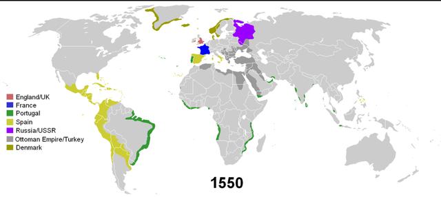 Colonias al año 1550