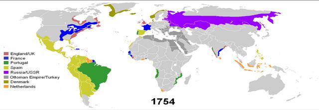Colonias al año 1754