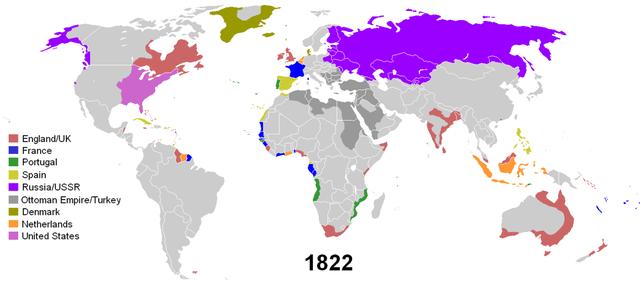 Colonias al año 1822