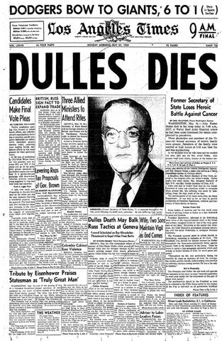 Dulles dies