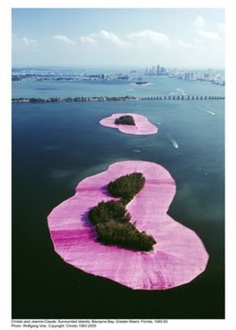 """Surrounded """"Pink"""" Islands, Biscayne Bay, Miami, Florida, 1980-1983 by Christo and Jean-Claude"""