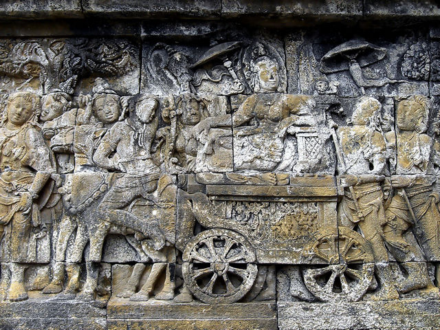Queen Maya Riding a Horse Carriage Retreating to Lumbini to Give Birth to Prince Siddhartha Guatama