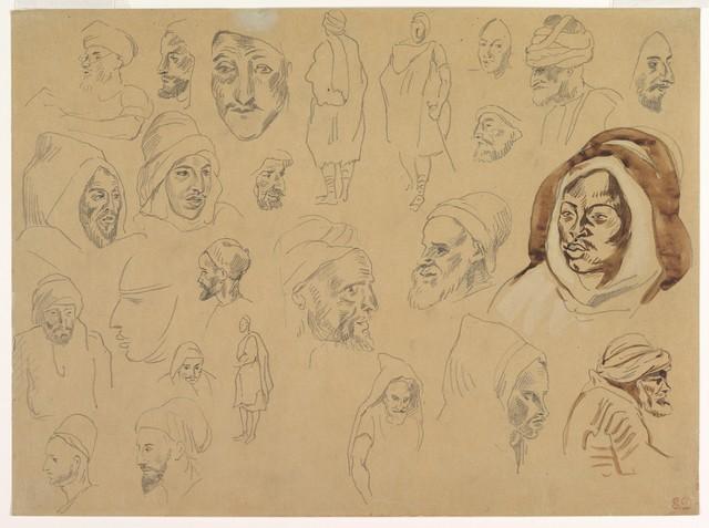 EUGENE DELACROIX «études de portraits de Marocains»