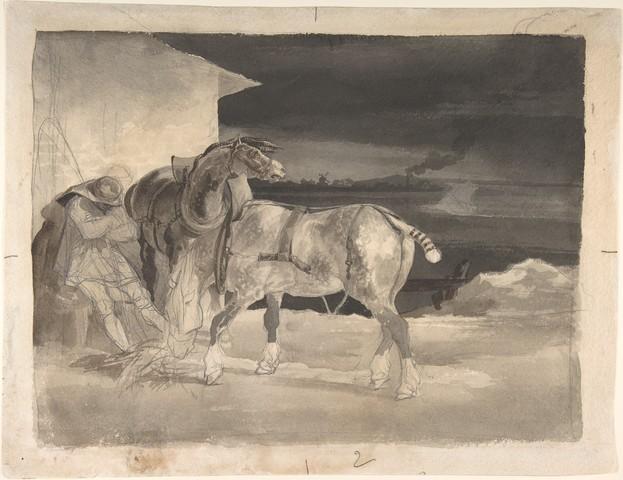 THEODORE GERICAULT«Deux chevaux de trait et un homme assoupi»