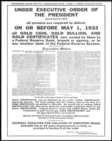 Congress passes Gold Reserve Act