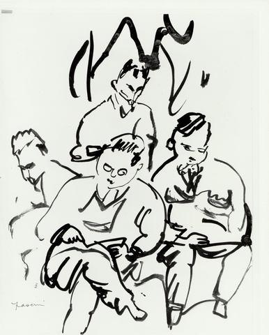 JULES PASCIN «Groupe d'hommes»