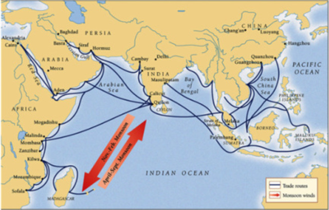 Sea lanes joined Asia, Africa and the Mediterranean into one network.