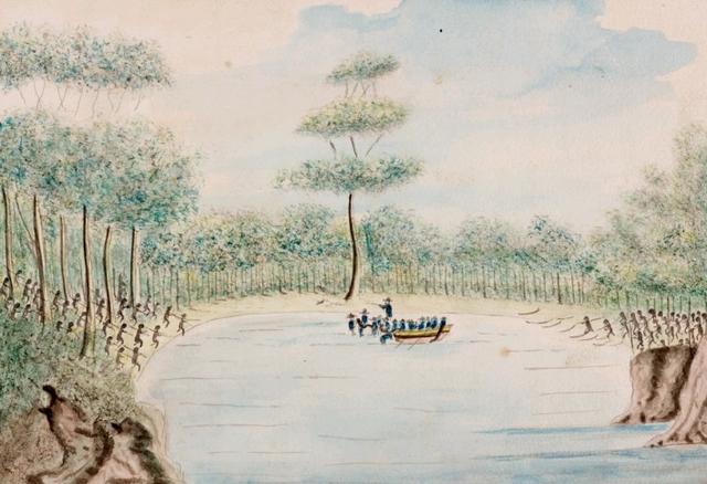 Governor Phillip captures two Aboriginal men
