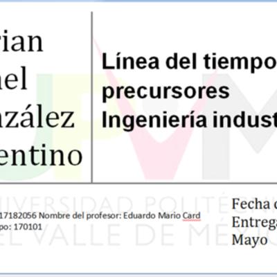 Precursores de la Ingeniera Industrial timeline