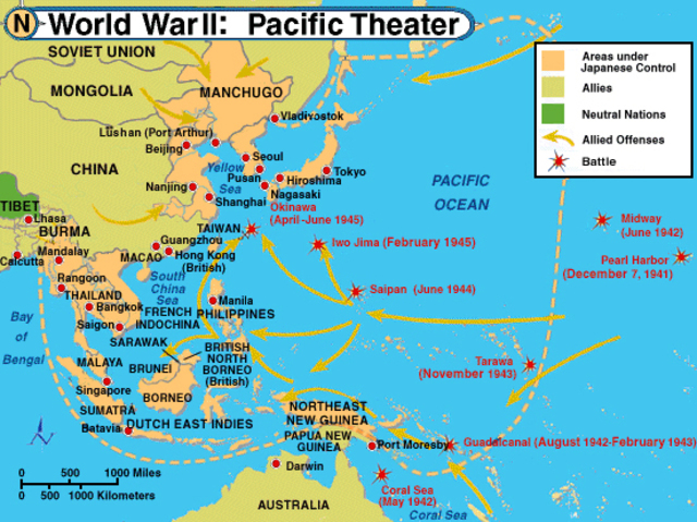 World War II in the Pacific timeline | Timetoast timelines